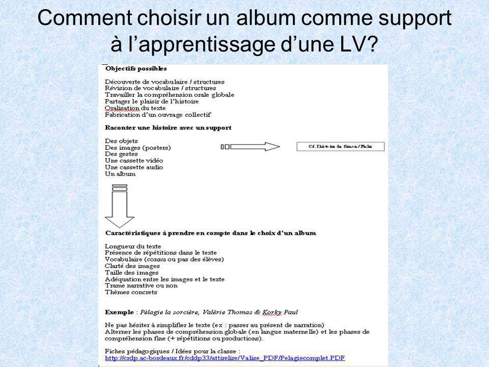 Comment choisir un album comme support à l'apprentissage d'une LV