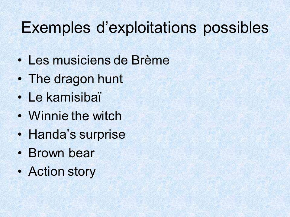Exemples d'exploitations possibles