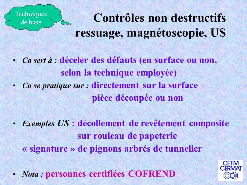 Contrôles non destructifs ressuage, magnétoscopie, US