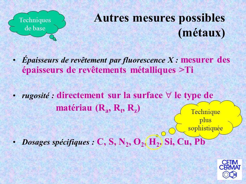 Autres mesures possibles (métaux)