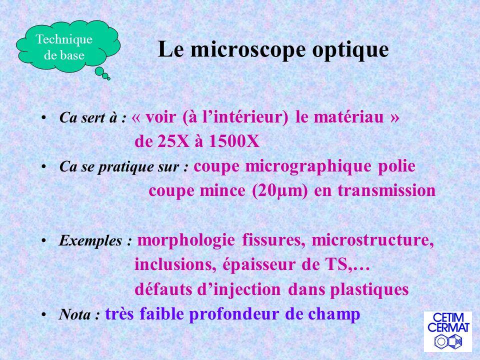 Le microscope optique de 25X à 1500X