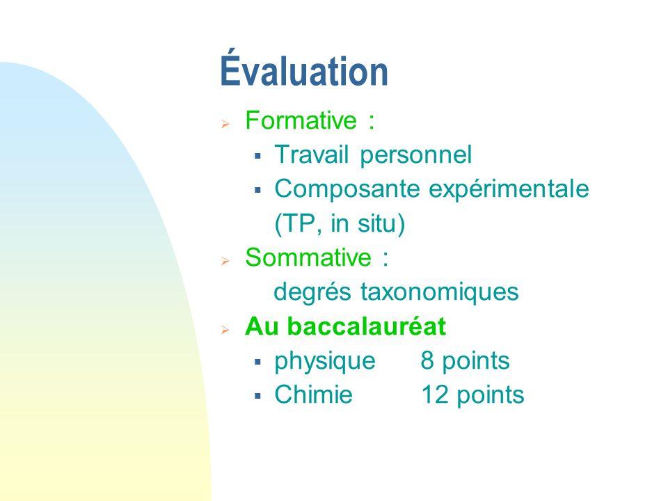 Évaluation Formative : Travail personnel Composante expérimentale