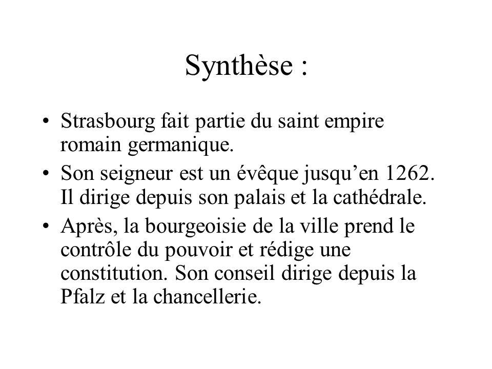 Synthèse : Strasbourg fait partie du saint empire romain germanique.