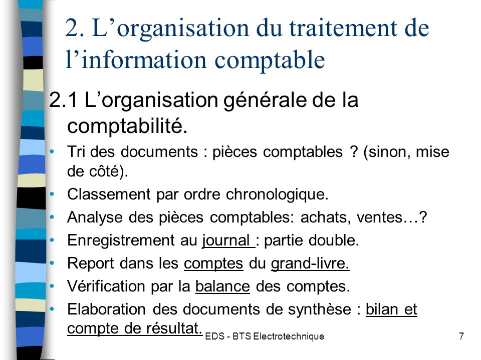 2. L'organisation du traitement de l'information comptable