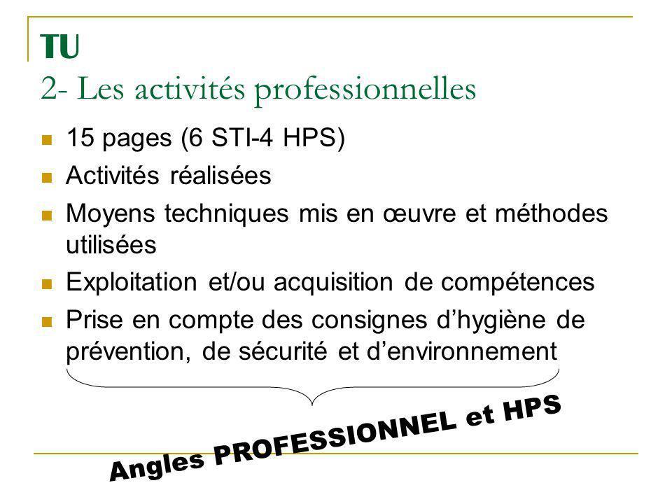 TU 2- Les activités professionnelles