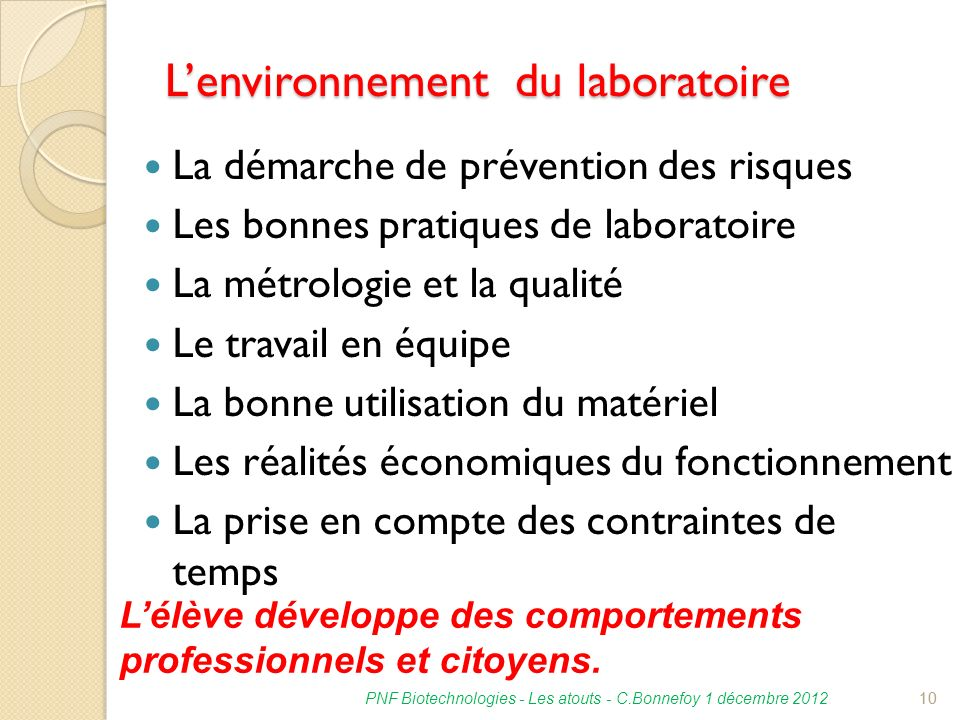 L'environnement du laboratoire