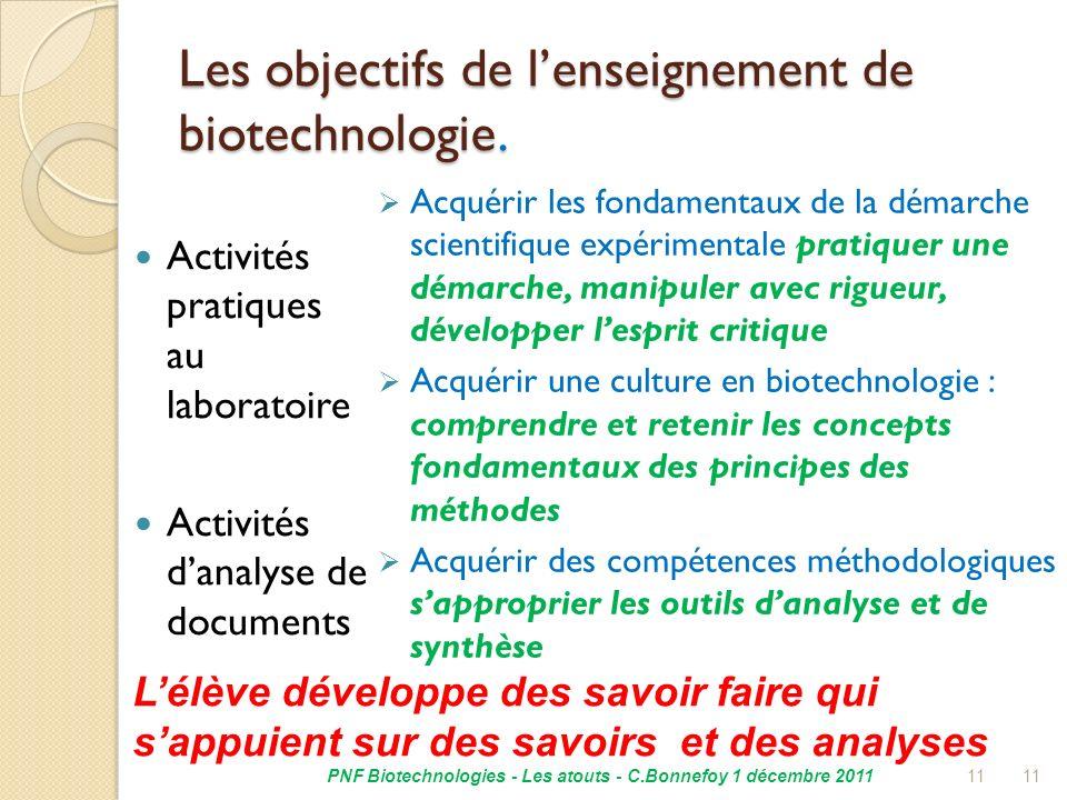 Les objectifs de l'enseignement de biotechnologie.