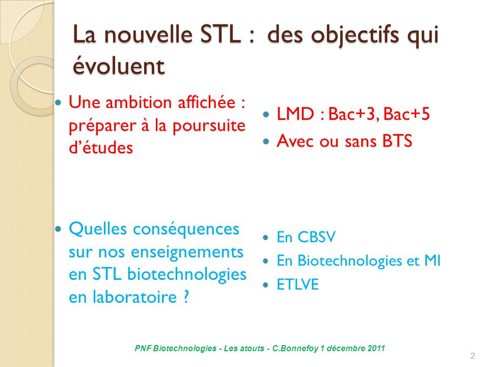 La nouvelle STL : des objectifs qui évoluent