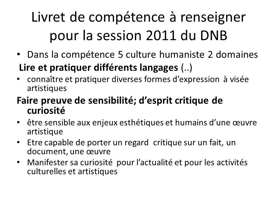 Livret de compétence à renseigner pour la session 2011 du DNB