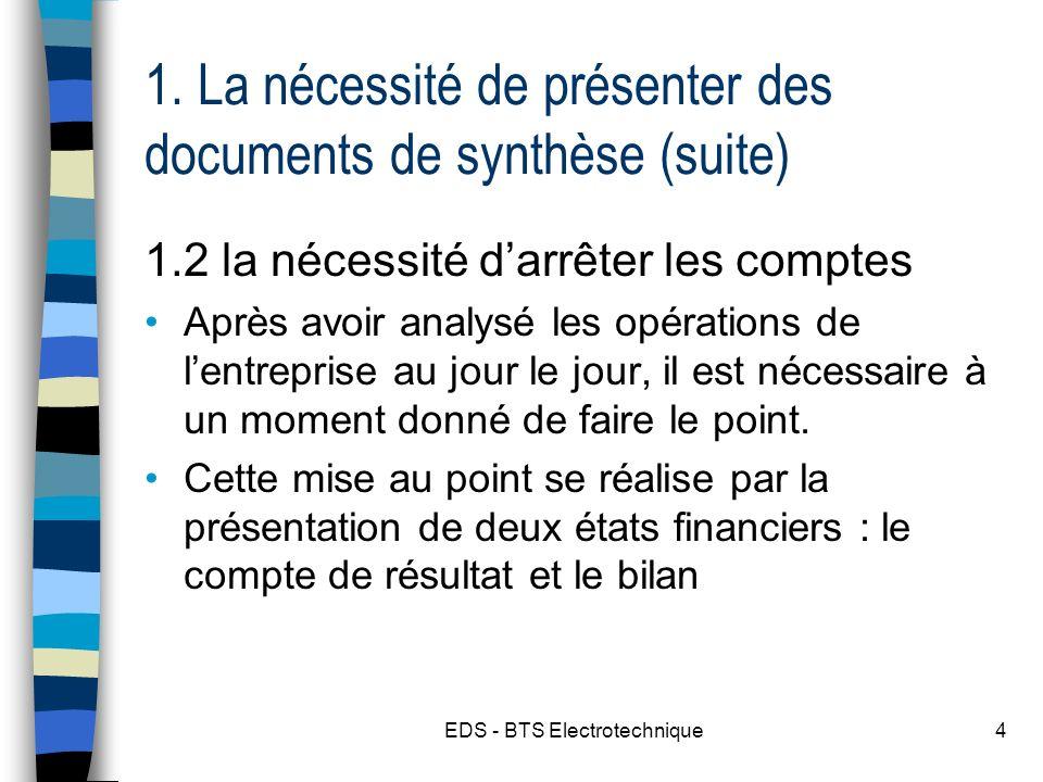 1. La nécessité de présenter des documents de synthèse (suite)