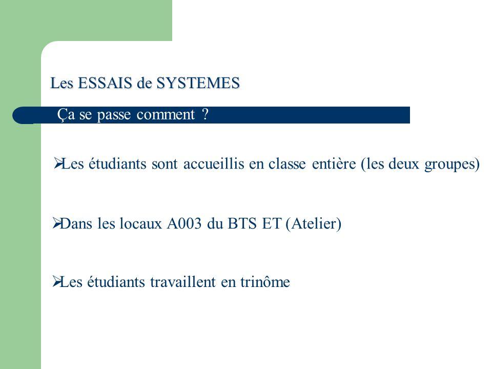 Les ESSAIS de SYSTEMES Ça se passe comment Les étudiants sont accueillis en classe entière (les deux groupes)