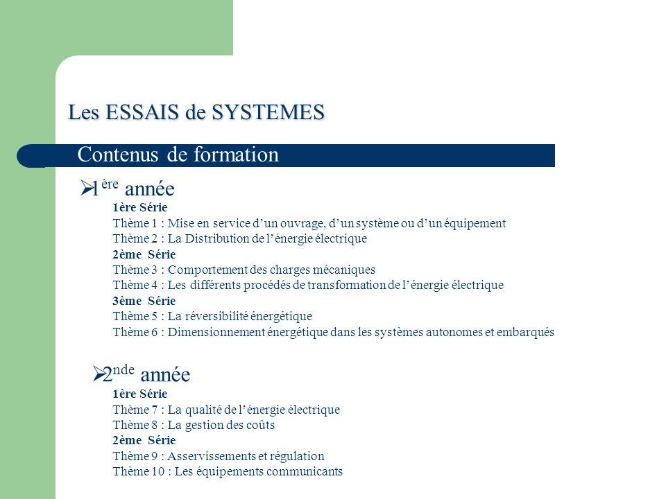 Les ESSAIS de SYSTEMES Contenus de formation 1ère année 2nde année