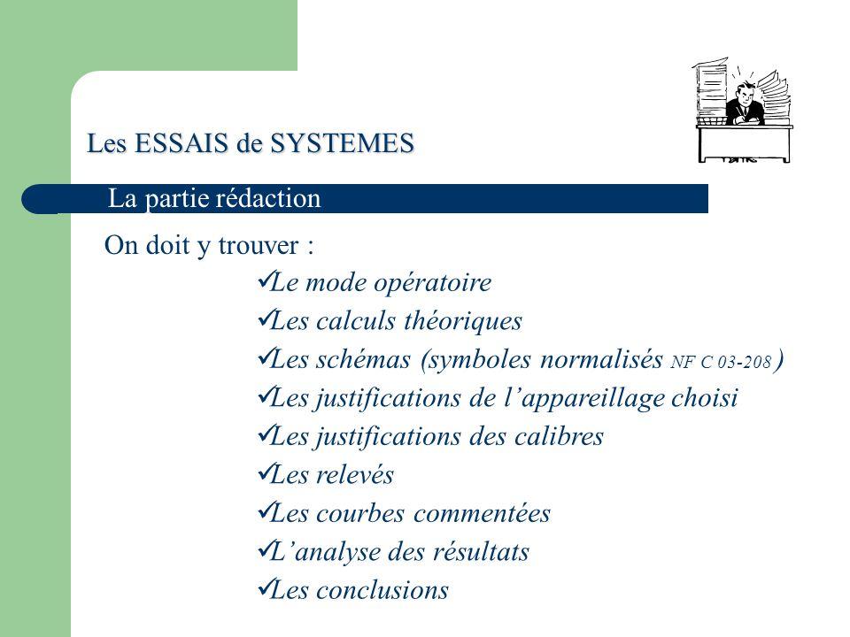 Les calculs théoriques Les schémas (symboles normalisés NF C 03-208 )