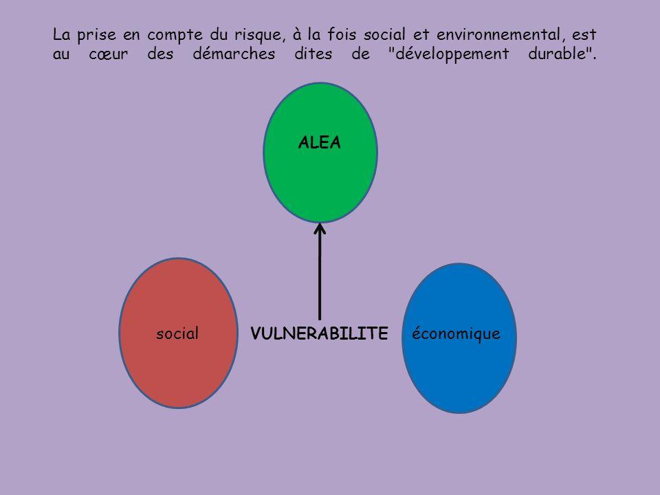 La prise en compte du risque, à la fois social et environnemental, est au cœur des démarches dites de développement durable .