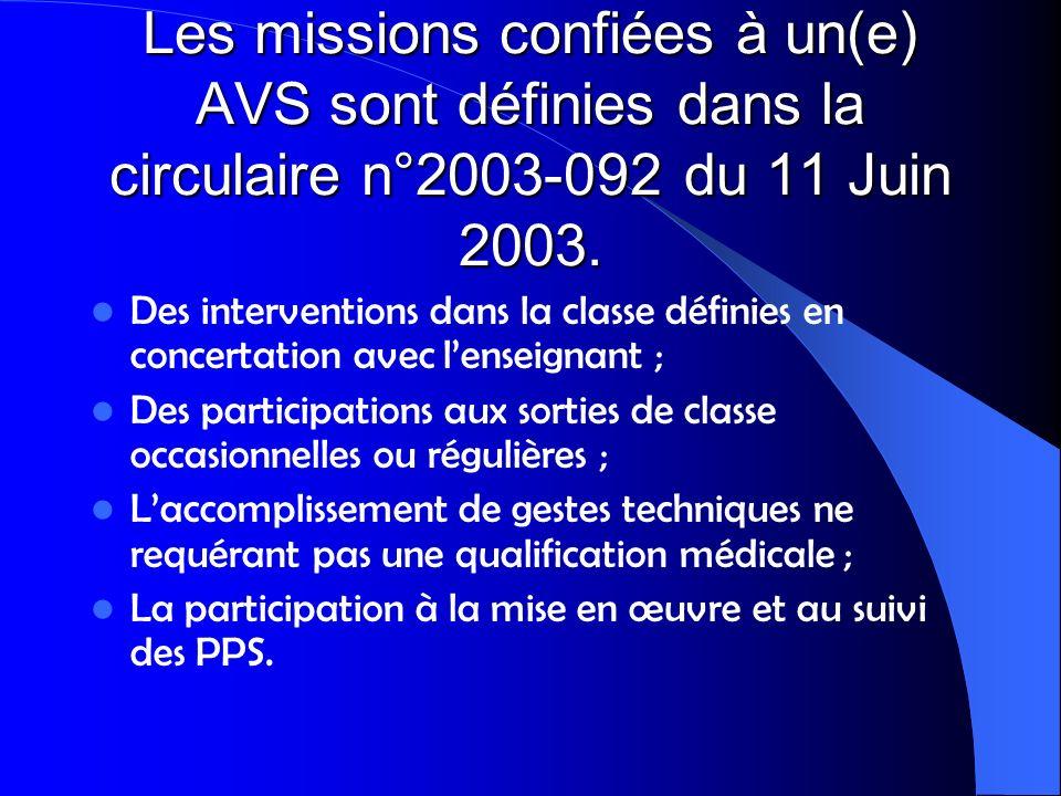 Les missions confiées à un(e) AVS sont définies dans la circulaire n°2003-092 du 11 Juin 2003.