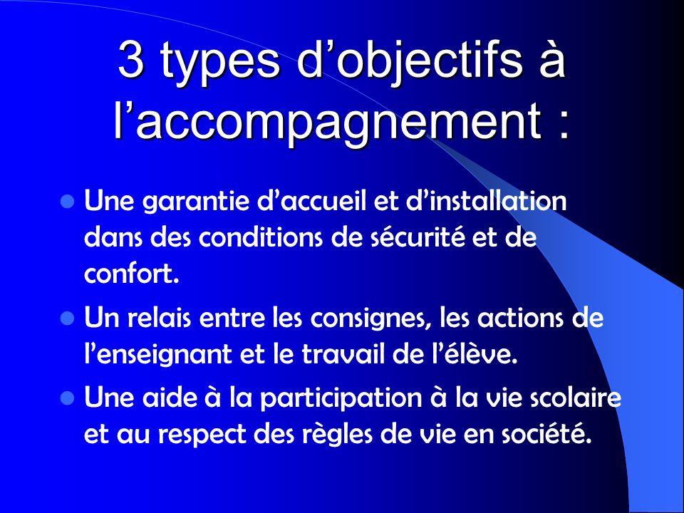 3 types d'objectifs à l'accompagnement :