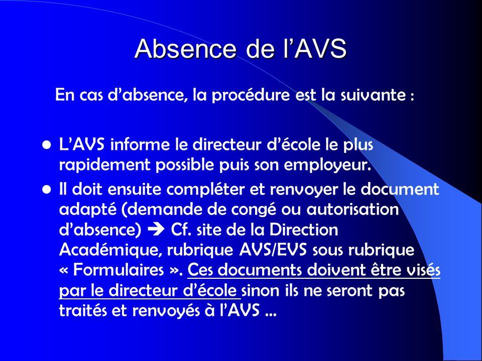 Absence de l'AVS En cas d'absence, la procédure est la suivante :
