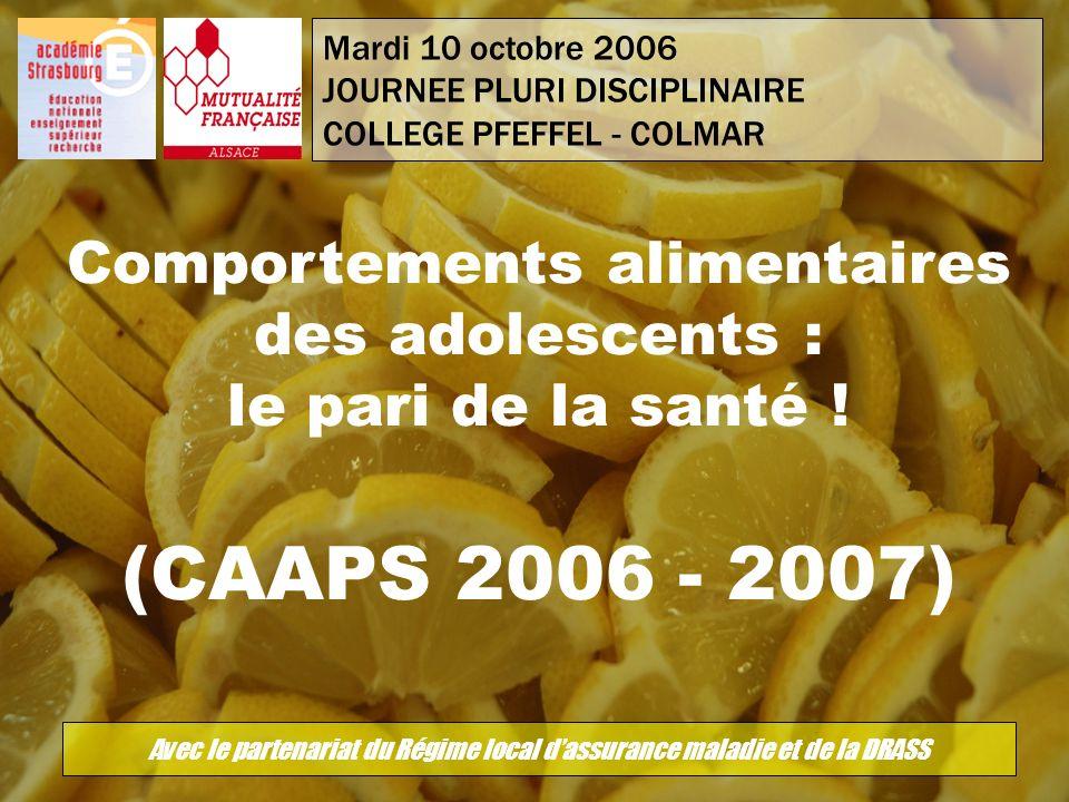 Mardi 10 octobre 2006 JOURNEE PLURI DISCIPLINAIRE. COLLEGE PFEFFEL - COLMAR. Comportements alimentaires des adolescents : le pari de la santé !