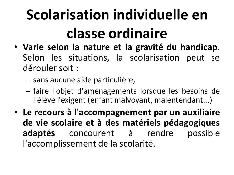 Scolarisation individuelle en classe ordinaire