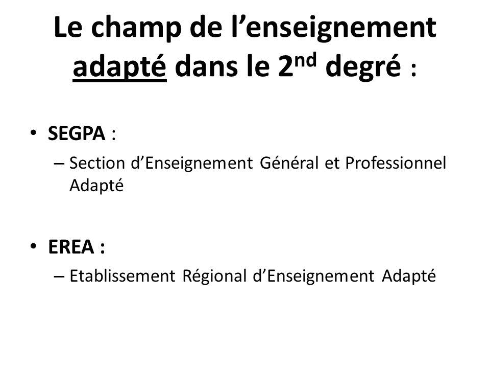 Le champ de l'enseignement adapté dans le 2nd degré :