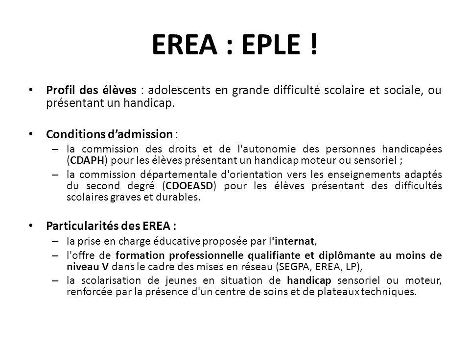 EREA : EPLE ! Profil des élèves : adolescents en grande difficulté scolaire et sociale, ou présentant un handicap.