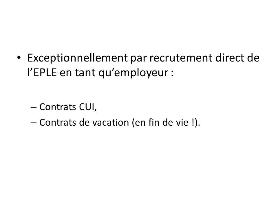 Exceptionnellement par recrutement direct de l'EPLE en tant qu'employeur :