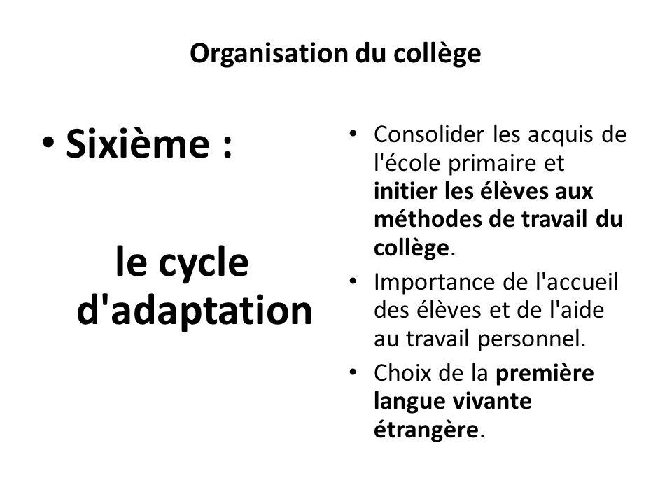 Organisation du collège