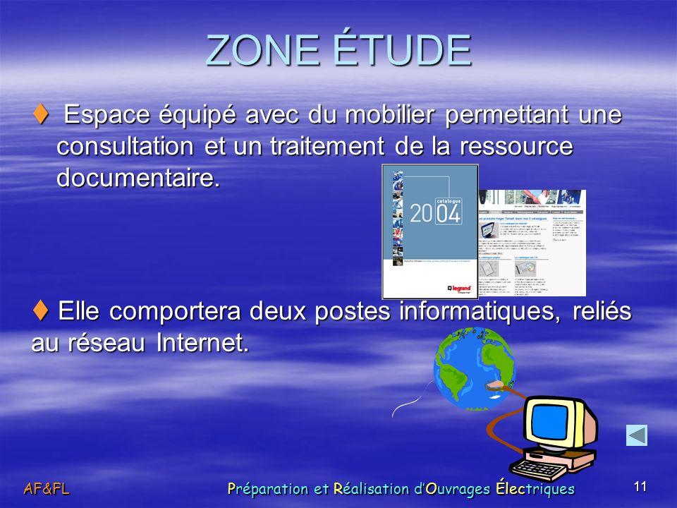 ZONE ÉTUDE  Espace équipé avec du mobilier permettant une consultation et un traitement de la ressource documentaire.