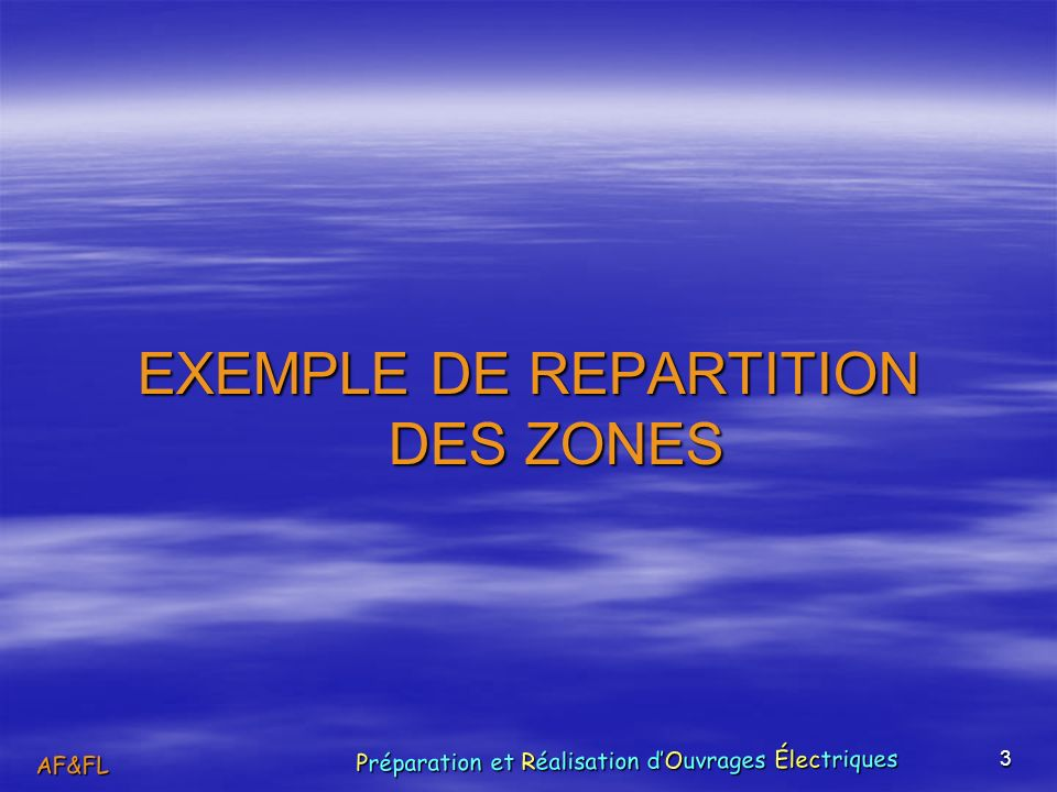 EXEMPLE DE REPARTITION DES ZONES