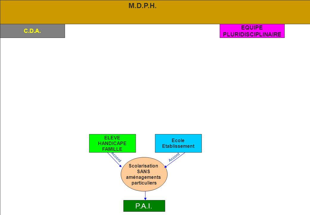 M.D.P.H. P.A.I. EQUIPE C.D.A. PLURIDISCIPLINAIRE ELEVE Ecole HANDICAPE