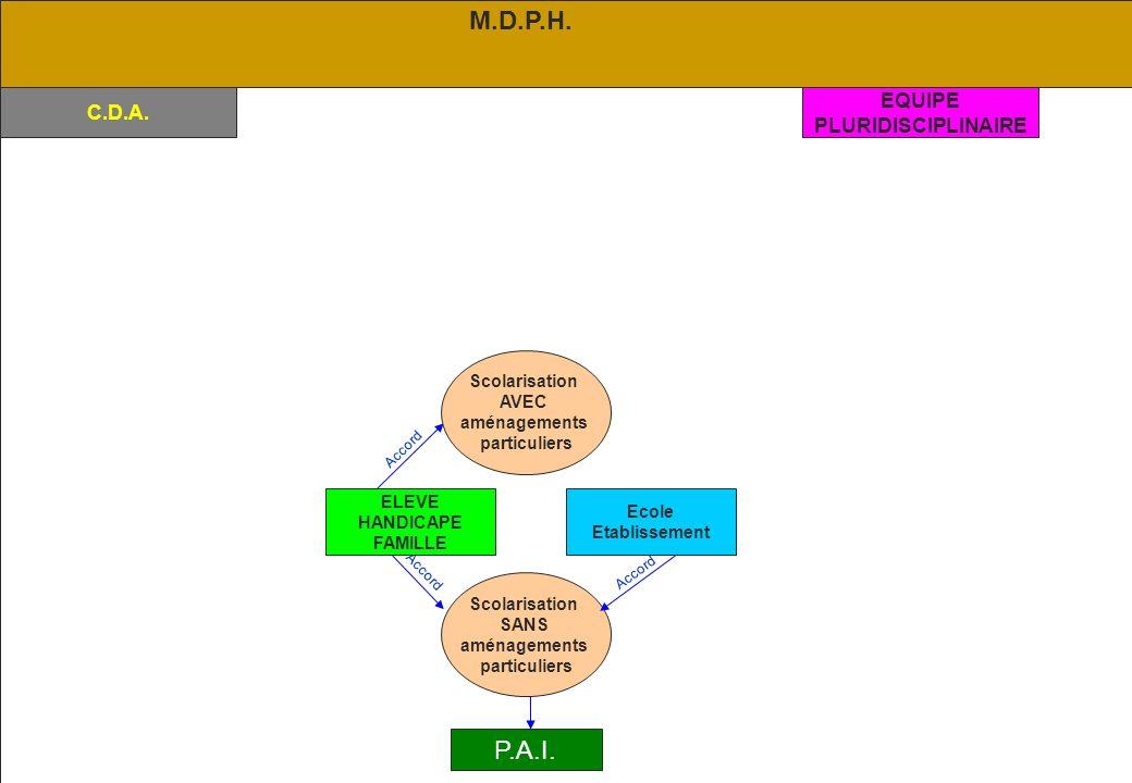 M.D.P.H. P.A.I. EQUIPE C.D.A. PLURIDISCIPLINAIRE Scolarisation AVEC