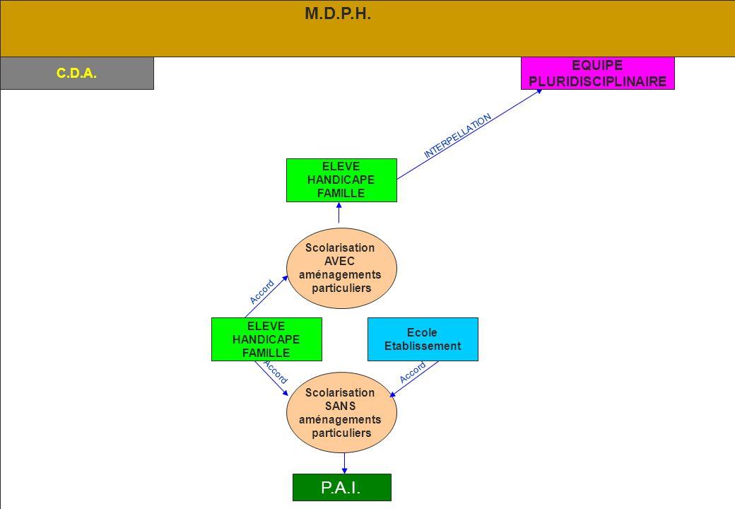 M.D.P.H. P.A.I. EQUIPE C.D.A. PLURIDISCIPLINAIRE ELEVE HANDICAPE
