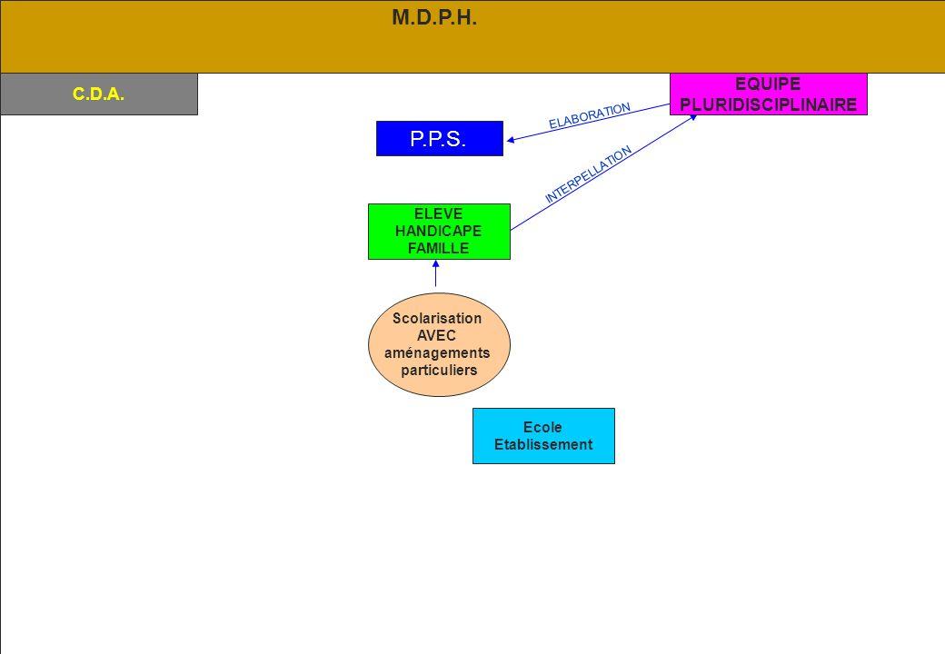 M.D.P.H. P.P.S. EQUIPE C.D.A. PLURIDISCIPLINAIRE ELEVE HANDICAPE