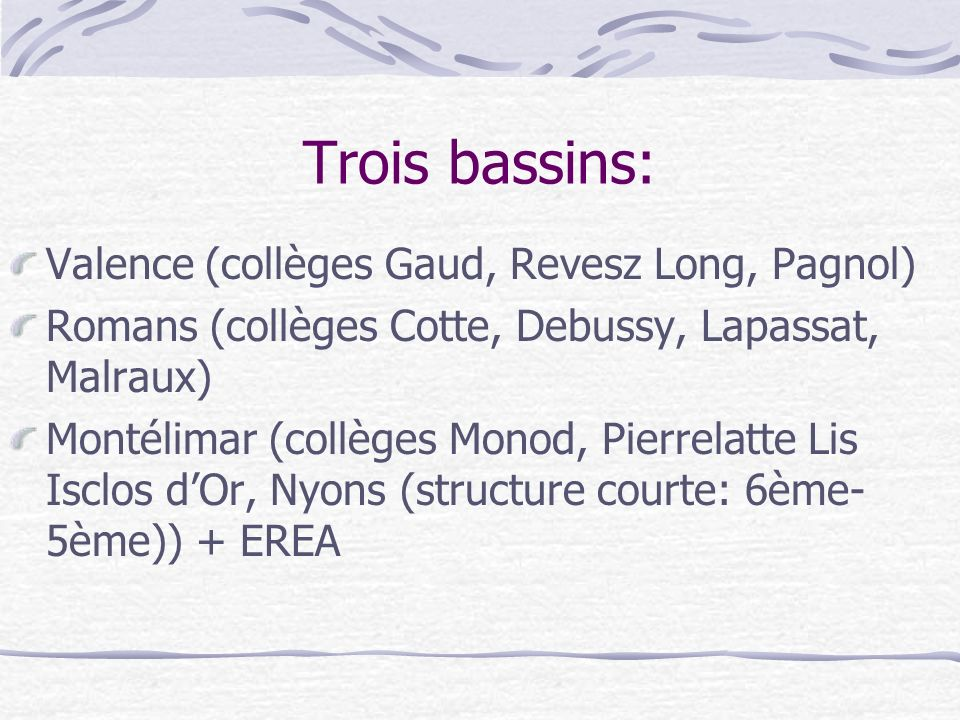 Trois bassins: Valence (collèges Gaud, Revesz Long, Pagnol)