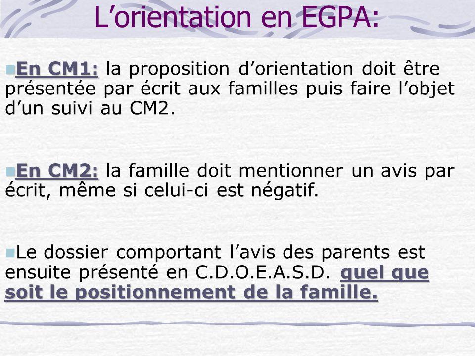 L'orientation en EGPA: