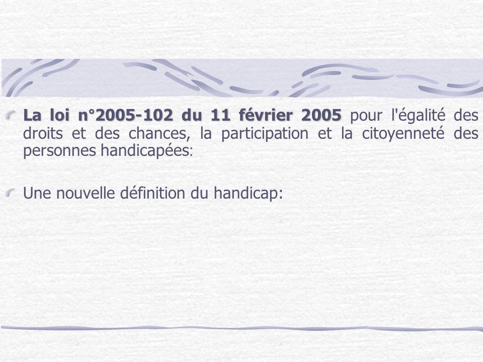 La loi n°2005-102 du 11 février 2005 pour l égalité des droits et des chances, la participation et la citoyenneté des personnes handicapées: