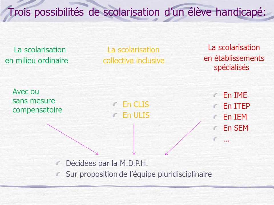 Trois possibilités de scolarisation d'un élève handicapé: