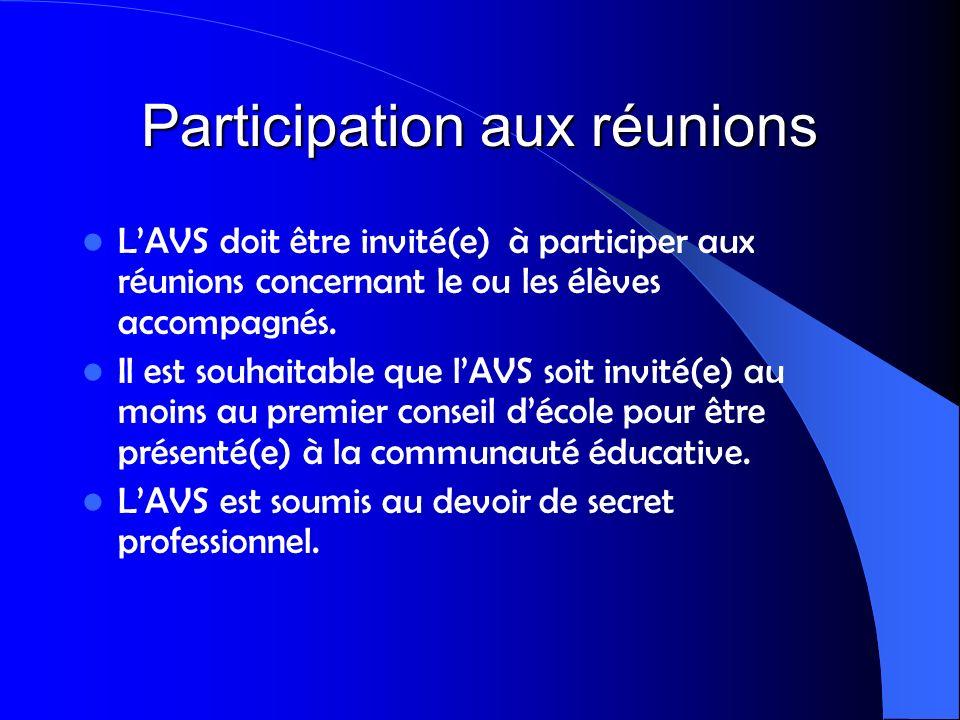 Participation aux réunions
