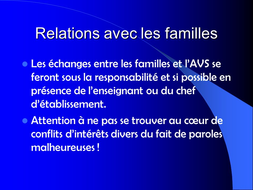 Relations avec les familles