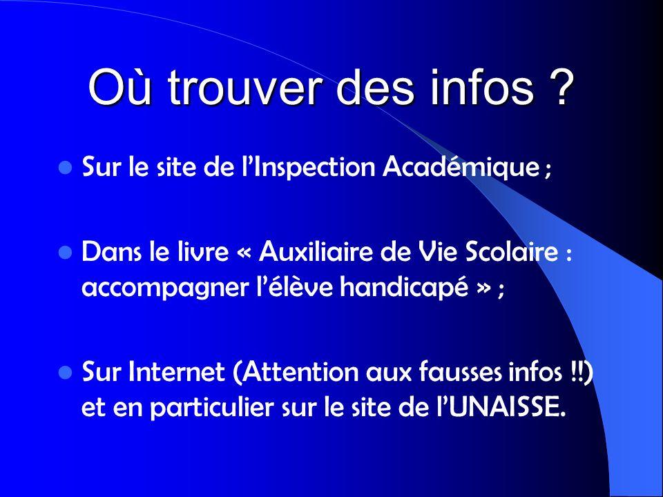 Où trouver des infos Sur le site de l'Inspection Académique ;