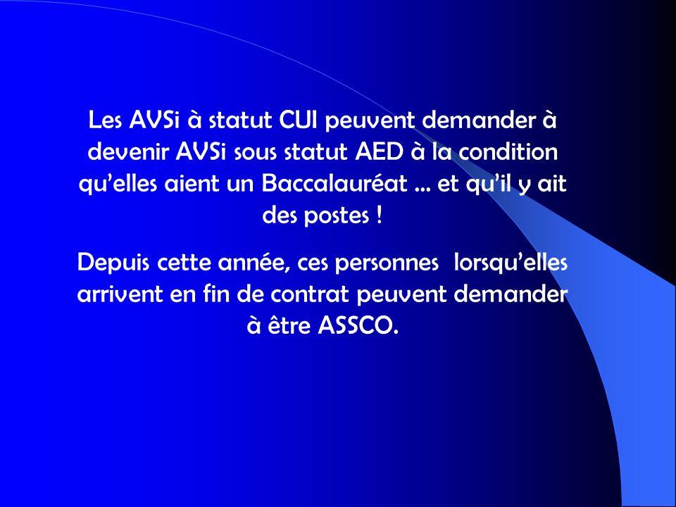 Les AVSi à statut CUI peuvent demander à devenir AVSi sous statut AED à la condition qu'elles aient un Baccalauréat … et qu'il y ait des postes !