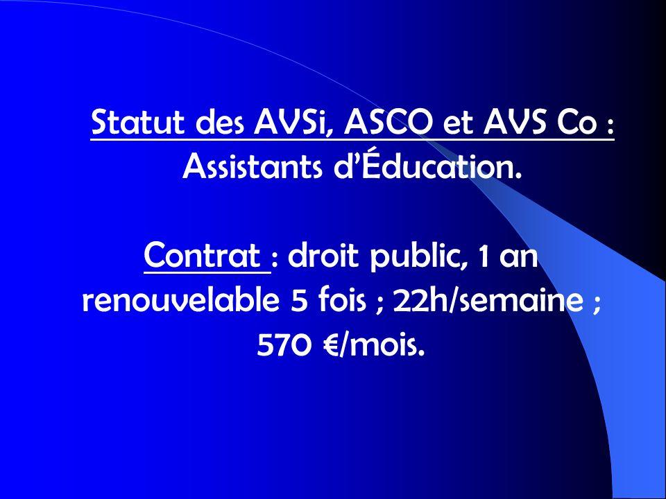 Statut des AVSi, ASCO et AVS Co : Assistants d'Éducation.