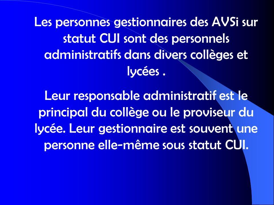 Les personnes gestionnaires des AVSi sur statut CUI sont des personnels administratifs dans divers collèges et lycées .