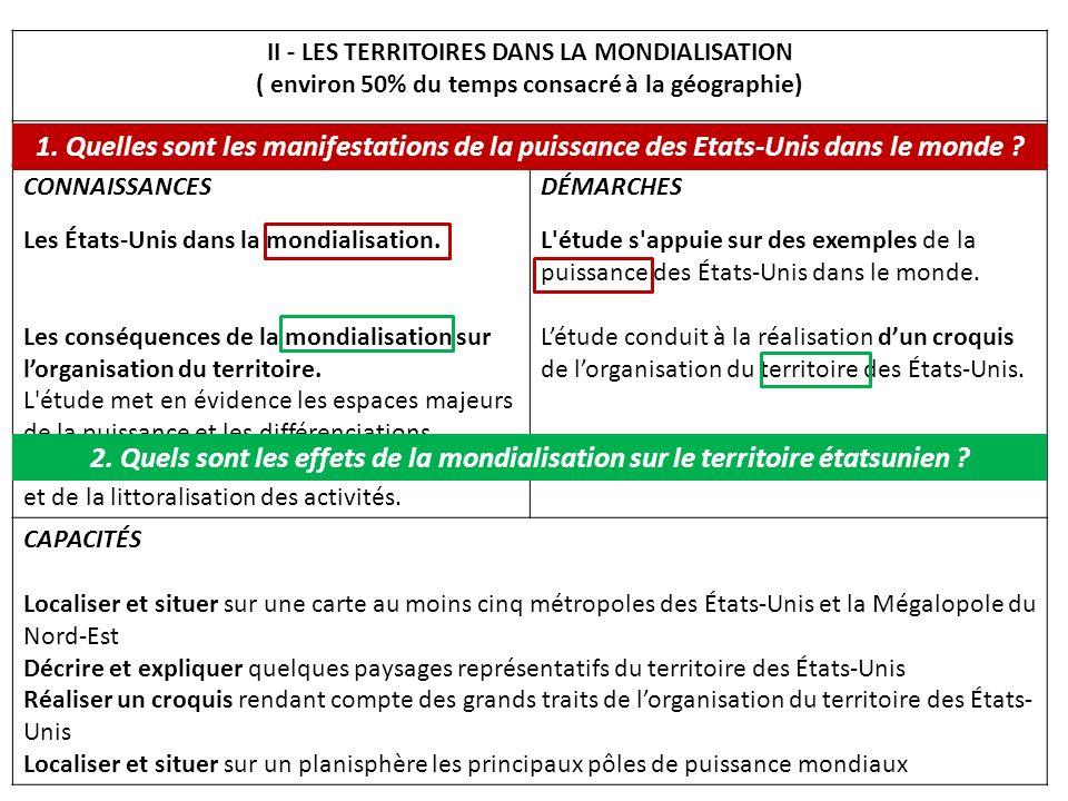 II - LES TERRITOIRES DANS LA MONDIALISATION
