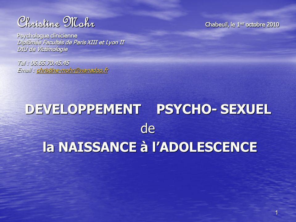 DEVELOPPEMENT PSYCHO- SEXUEL de la NAISSANCE à l'ADOLESCENCE