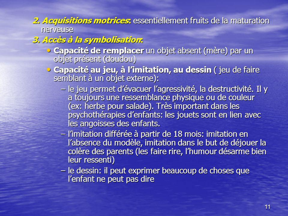 2. Acquisitions motrices: essentiellement fruits de la maturation nerveuse