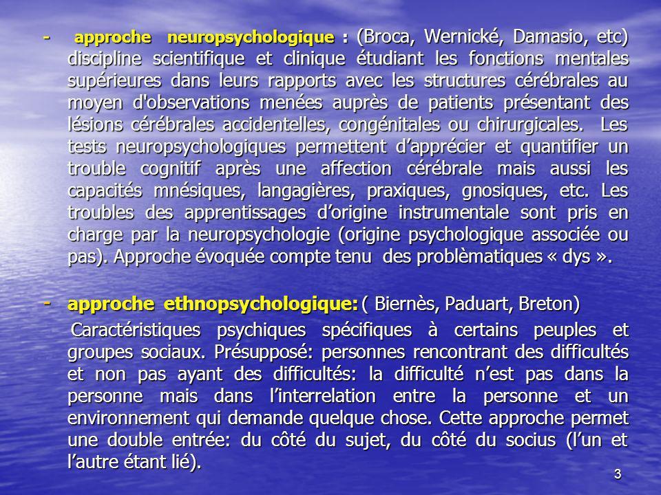 approche ethnopsychologique: ( Biernès, Paduart, Breton)