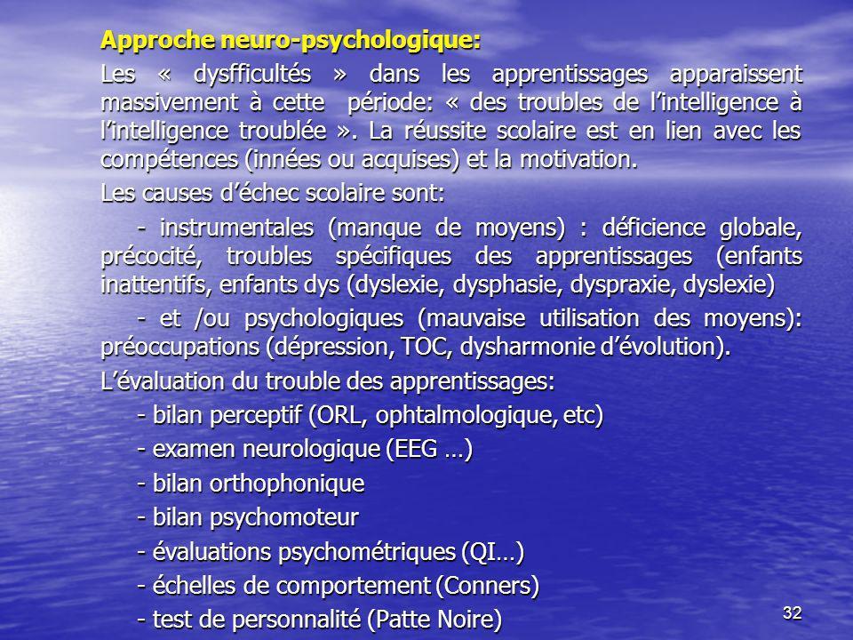 Approche neuro-psychologique: Les « dysfficultés » dans les apprentissages apparaissent massivement à cette période: « des troubles de l'intelligence à l'intelligence troublée ».