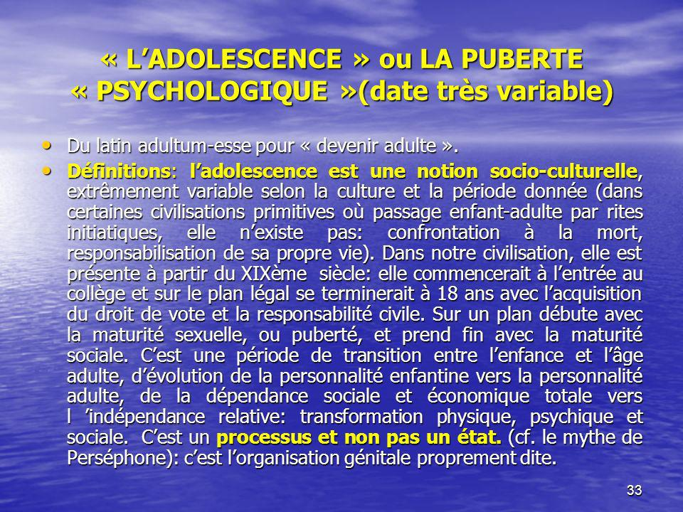« L'ADOLESCENCE » ou LA PUBERTE « PSYCHOLOGIQUE »(date très variable)