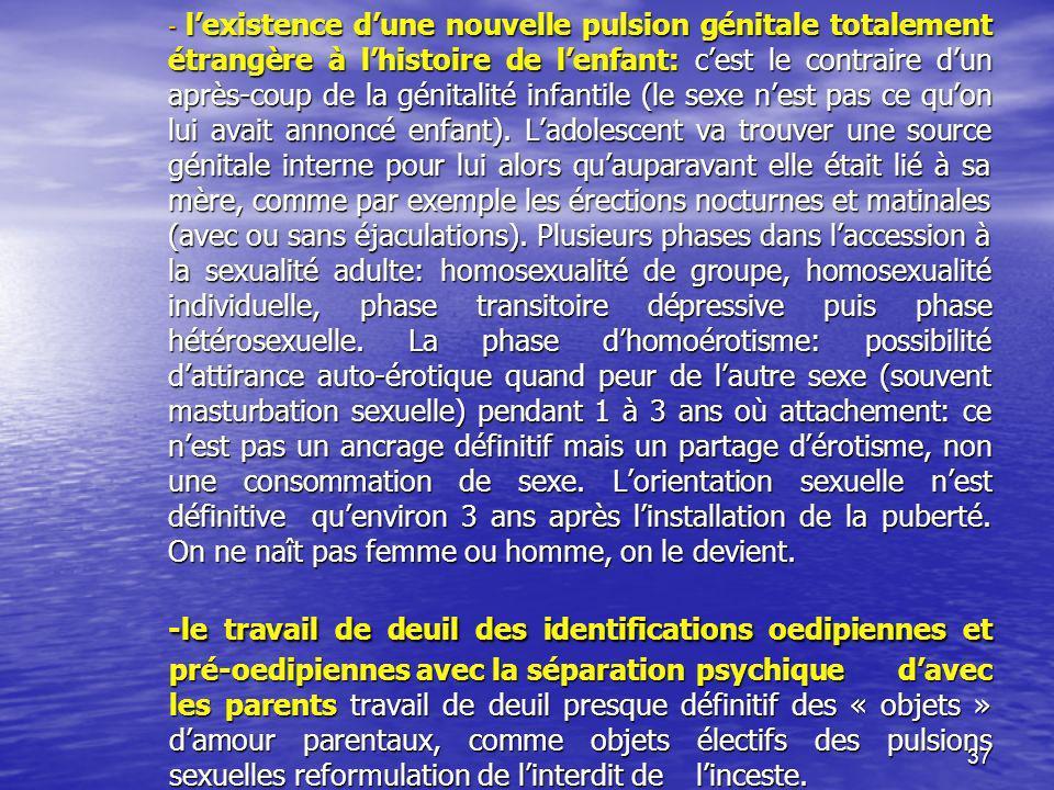 l'existence d'une nouvelle pulsion génitale totalement étrangère à l'histoire de l'enfant: c'est le contraire d'un après-coup de la génitalité infantile (le sexe n'est pas ce qu'on lui avait annoncé enfant). L'adolescent va trouver une source génitale interne pour lui alors qu'auparavant elle était lié à sa mère, comme par exemple les érections nocturnes et matinales (avec ou sans éjaculations). Plusieurs phases dans l'accession à la sexualité adulte: homosexualité de groupe, homosexualité individuelle, phase transitoire dépressive puis phase hétérosexuelle. La phase d'homoérotisme: possibilité d'attirance auto-érotique quand peur de l'autre sexe (souvent masturbation sexuelle) pendant 1 à 3 ans où attachement: ce n'est pas un ancrage définitif mais un partage d'érotisme, non une consommation de sexe. L'orientation sexuelle n'est définitive qu'environ 3 ans après l'installation de la puberté. On ne naît pas femme ou homme, on le devient.
